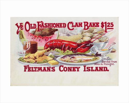 Ye Old Fashioned Clam Bake - Feltmans Coney Island Postcard by Corbis