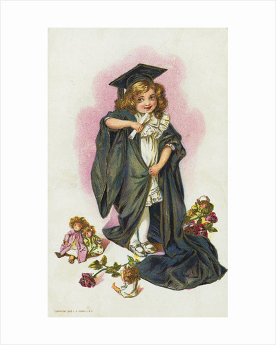 Postcard with a Young Girl in Cap and Gown by Corbis