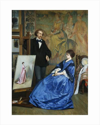 In the Artist's Studio by Gustave Leonhard de Jonghe
