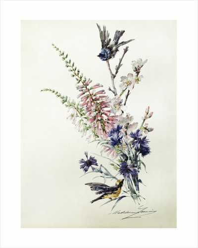 A Study of Heather, Cornflower, and Blossom by Madeleine Lemaire