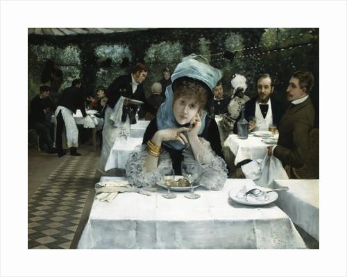 At the Restaurant le Doyen, Paris by Ernest Ange Duez