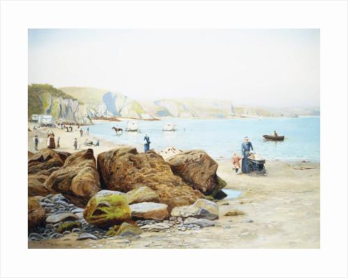 A Beach Scene in Cornwall, England by Thomas J. Purchas