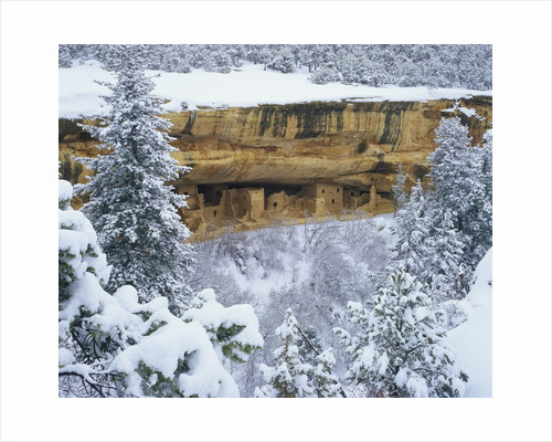 Snow Blankets Spruce Tree House Anasazi Cliff Dwelling at Mesa Verde National Park by Corbis