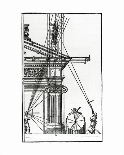 Sixteenth Century Woodcut of Engineers Surveying a Classical Building by Corbis