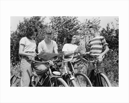 Cyclists Studying Road Map by Corbis