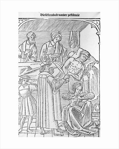 Woodcut of Plague Patient Surrounded By Doctors by Corbis