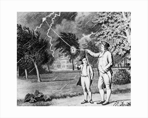 Drawing Of Benjamin Franklin Experiment by Corbis