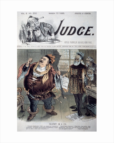 """Political Cartoon """"Falstaff in a Fix"""" on the Cover of Judge Magazine by Corbis"""