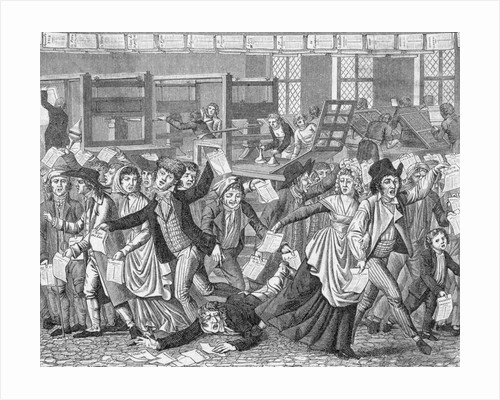 18th-Century Cartoon of a Mob Storming a Printers Shop by Corbis