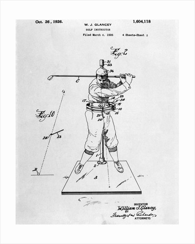 Drawing Of Golfer In Pose by Corbis