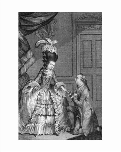 1777 Engraving of a Man Proposing to a Woman by Corbis