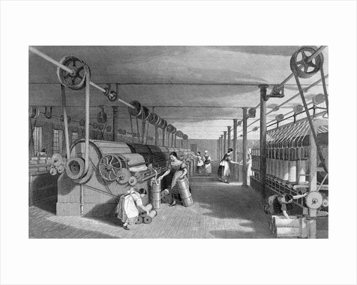 Print Depicting Workers at a Textile Factory by Corbis