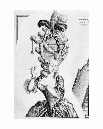 Illustration of 18th-Century Woman With Ridiculous Headpiece by Corbis