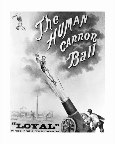 """Advertisement Bill For """"The Human Cannonball"""" by Corbis"""