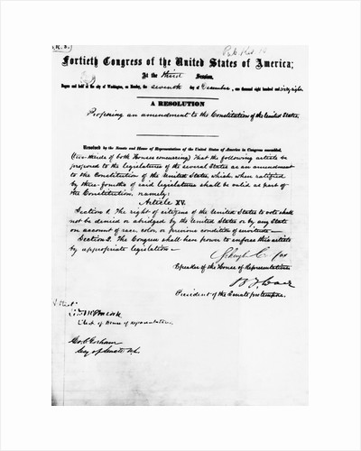 Manuscript of Fifteenth Amendment to the Constitution by Corbis