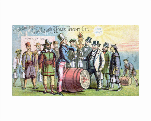 Uncle Sam Supplying the World With Home Light Oil Lithograph by Corbis