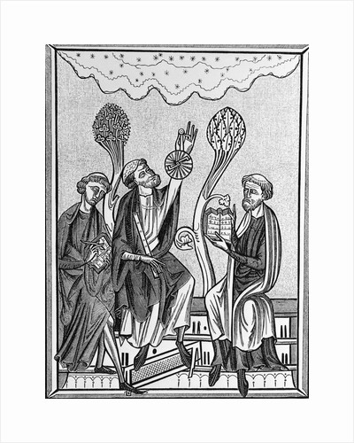 Medieval Illus. Of 3 Men Observing Sky by Corbis
