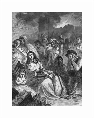 Illus Of Families Huddled Bkgrd Fire by Corbis