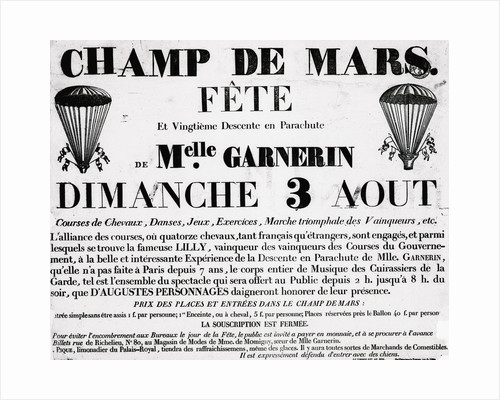 Poster For Parachute Descent Of Garnerin by Corbis