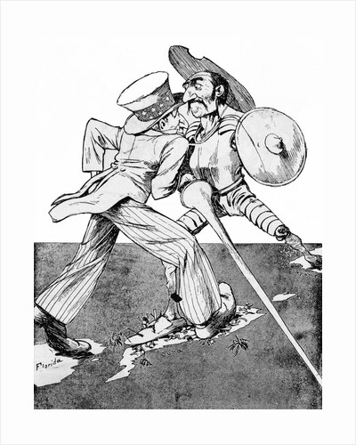 Uncle Sam and Don Quixote Face Off on Cuba by Corbis