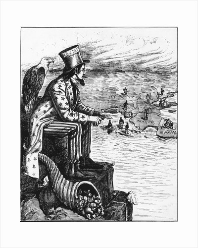 Political Cartoon of Uncle Sam Viewing Europe from Pedestal by Corbis