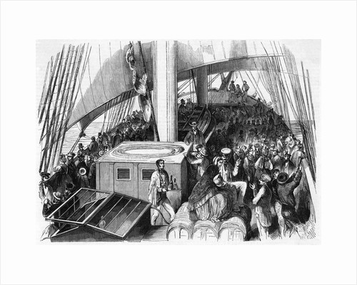 Illustration of Immigrants on Ship Deck by Corbis