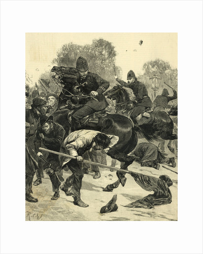 Mounted Police Tangle with Mob by Corbis