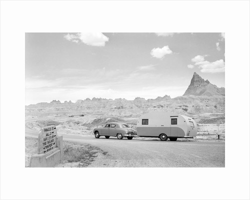 Automobile & Trailer On Badlands Highway by Corbis