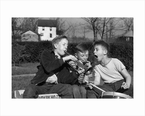Three Young Boys Playing Musical Instruments by Corbis