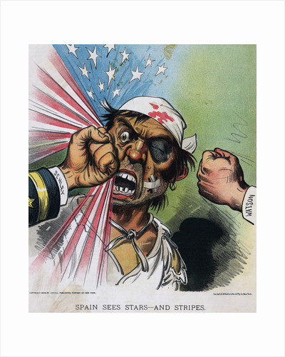 Illustration Americans Beating Spaniard by Corbis