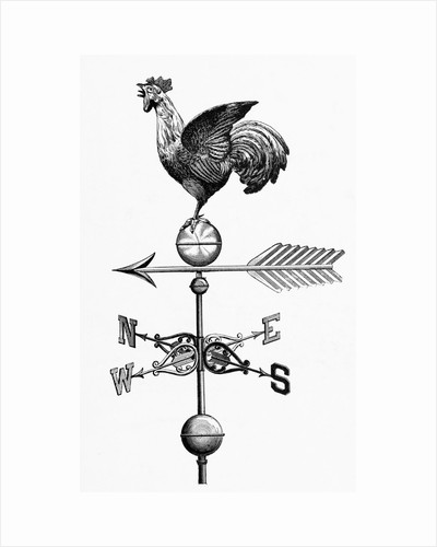 Rooster W/Outstretched Wings On Vane by Corbis