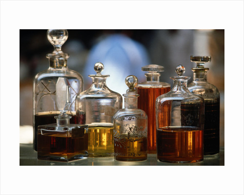 Display Of Perfume Bottles In Market by Corbis