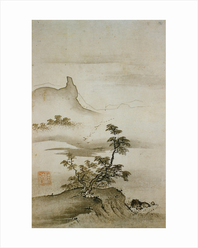 View of Trees Along the Riverbank from Eight Views of the Xiao and Xiang Rivers by Shokei