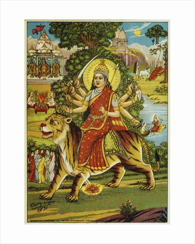 The Goddess Durga Color Lithograph by Corbis