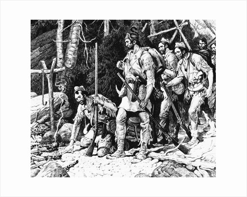 Illustration of the Rogers' Expedition Party Discovering the Deserted Rescue Party Camp by Corbis