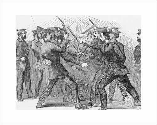 Illustration of Policemen Practicing Club Exercises by Corbis