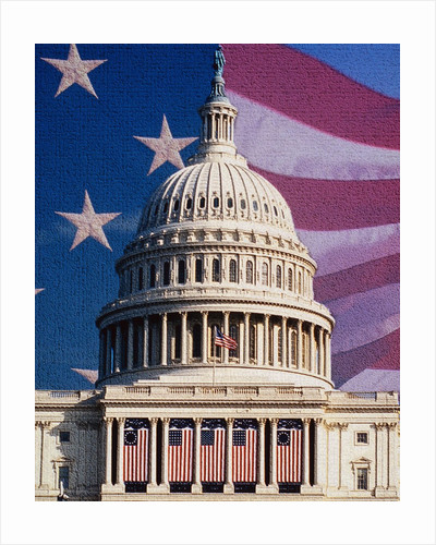 Flag Behind U.S. Capitol by Corbis