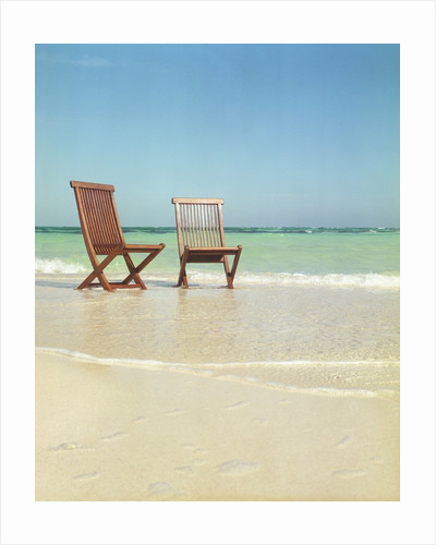 Pair of Wooden Lounge Chairs on Beach by Corbis