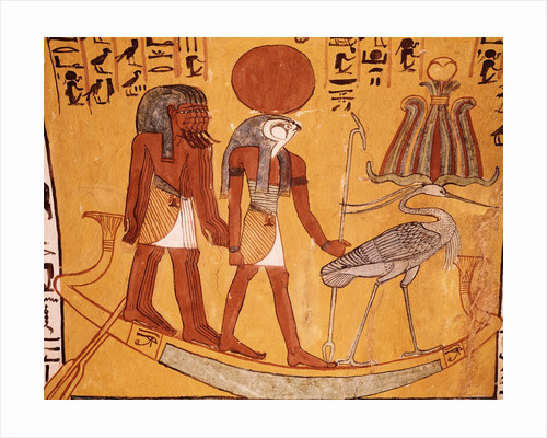 Mural Painting of Re-Harakhty in the Solar Boat Next to the Sacred Ibis by Corbis