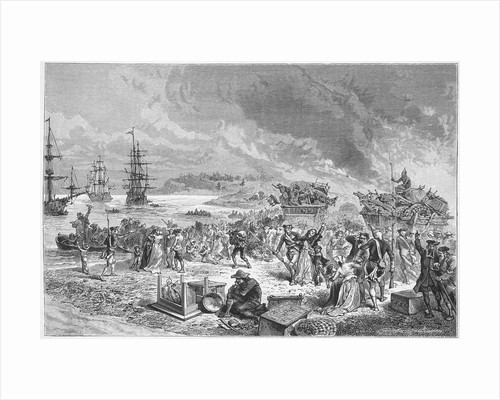 Illustration of the Acadians Leaving Halifax in 1755 by Corbis