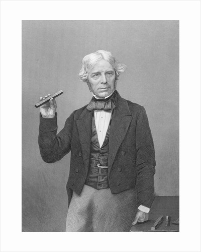 Michael Faraday Posing with Magnet by Corbis