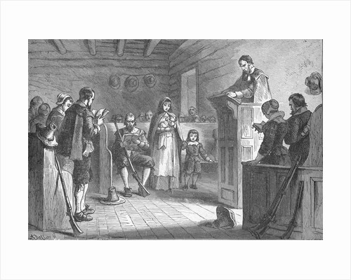 Print Depicting Public Worship at Plymouth by the Pilgrims by Corbis