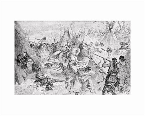 Federal Troops Attacking Indian Settlement by Corbis
