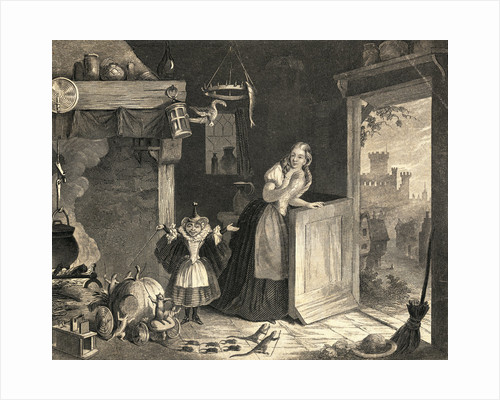 Cinderella with Fairy Godmother in Kitchen by Corbis