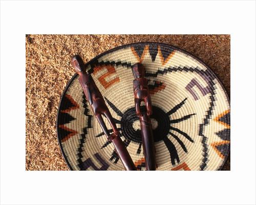 Embera Wood Carvings and Basket by Corbis