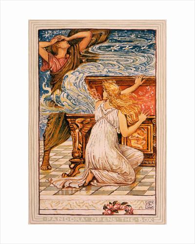 Illustration of Pandora Opening the Box by Walter Crane