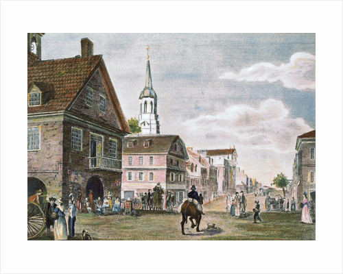 Church and Travelers in Street Scene of Early Philadelphia by Corbis