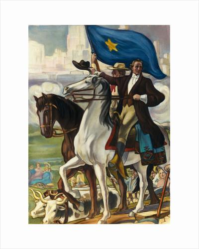 Illustration of Sam Houston Riding Horse into Houston by Corbis