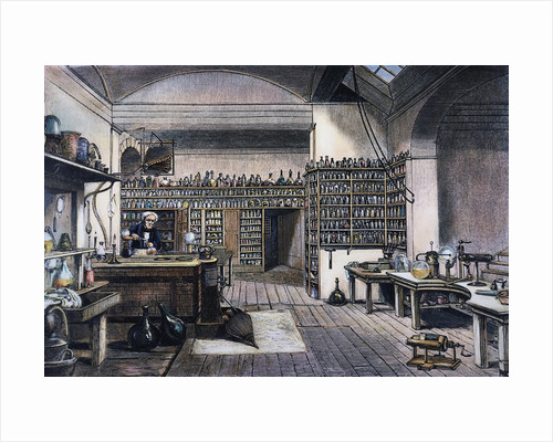 British Chemist Michael Faraday in His Physics Laboratory by Corbis