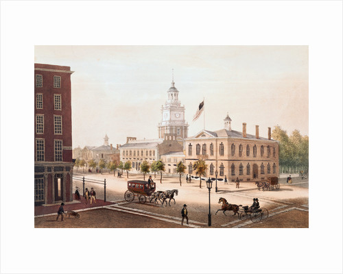 Pedestrians and Travelers on Street at Philadelphia State House by Corbis